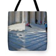 People On Steps With Columns Tote Bag