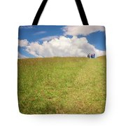 People On The Hill Painterly Tote Bag