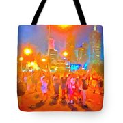 People Outside On Street Tote Bag