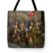 People - People Waiting For The Bus - 1943 Tote Bag