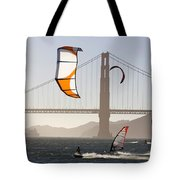 People Wind Surfing And Kitebording Tote Bag