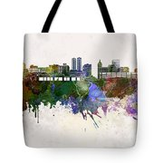 Peoria Skyline In Watercolor Background Tote Bag