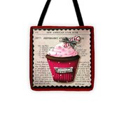 Peppermint Stick Christmas Cupcake Tote Bag