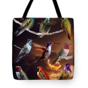 Perched Hummingbird Collage Tote Bag