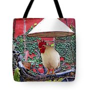 Perched Rooster Tote Bag