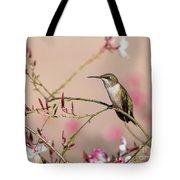 Perching Ruby-throated Hummingbird Tote Bag