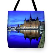 Perfect Riddarholmen Blue Hour Reflection Tote Bag