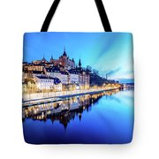 Perfect Sodermalm And Mariaberget Blue Hour Reflection Tote Bag