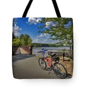 Perfect Weather For Cycling At Lake Brandt Tote Bag