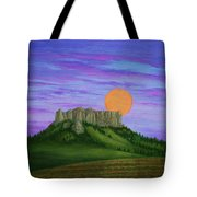 Perigee Moon Rising Above Crow Butte Tote Bag