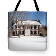 Period Vintage New England Brick House In Winter Tote Bag