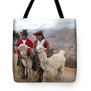 Peruvian Girls With Llamas Tote Bag