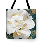 Petals Impasto White And Gold Tote Bag by Mindy Sommers