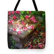 Petals On A Bench Tote Bag