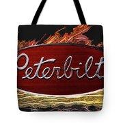 Peterbilt Emblem In Flames Tote Bag