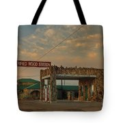 Petrified Gas Station After Rain Tote Bag