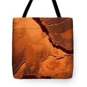 Petroglyphs In Monument Valley Navajo Tribal Park Tote Bag by Lon Dittrick
