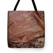 Petroglyphs On A Sheer Rock Wall Tote Bag