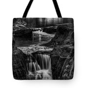 Pewits Nest Waterfalls In Black And White Tote Bag