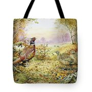 Pheasants In Woodland Tote Bag