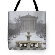Philadelphia Art Museum From The West In Winter Tote Bag