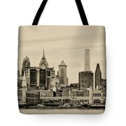 Philadelphia From The Waterfront In Sepia Tote Bag