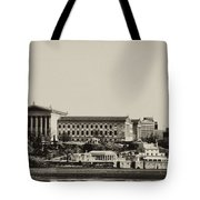Philadelphia Museum Of Art And The Fairmount Waterworks From West River Drive In Black And White Tote Bag