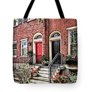 Philadelphia Pa - Townhouse With Red Geraniums Tote Bag