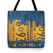Philadelphia Pennsylvania Skyline License Plate Art Edition 2016 Tote Bag