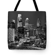 Philadelphia Skyline At Night Black And White Bw  Tote Bag