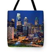 Philadelphia Skyline At Night Tote Bag