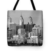 Philadelphia Skyline Black And White Bw Wide Pano Tote Bag