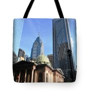 Philadelphia Street Level - Skyscrapers And Classical Building View Tote Bag