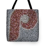 Philidelphia Phillies Baseballs Mosaic Tote Bag by Paul Van Scott