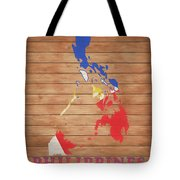 Philippines Rustic Map On Wood Tote Bag