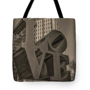 Philly Esque  - Love Statue In Sepia Tote Bag