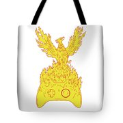 Phoenix Rising Fiery Flames Over Game Controller Drawing Tote Bag