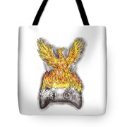 Phoenix Rising Over Burning Game Controller Tattoo Tote Bag