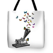 Phonograph And Butterflies Print Tote Bag