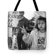 Photography Homage Alfred Eisenstadt Hispanic Girl V For Victory Sign Anti Gulf War Rally Tucson Az Tote Bag