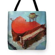 Piano In Red Tote Bag