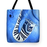Piano Keys In A Saxophone Blue - Music In Motion Tote Bag
