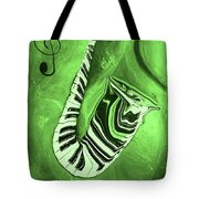 Piano Keys In A  Saxophone Green Music In Motion Tote Bag