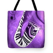 Piano Keys In A Saxophone Purple - Music In Motion Tote Bag