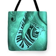 Piano Keys In A  Saxophone Teal Music In Motion Tote Bag
