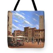 Piazza Della Cisterna San Gimignano Tuscany Tote Bag