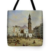 Piazza Mazaniello In Naples Tote Bag by Jean Auguste Bard