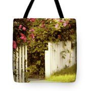 Picket Fence Roses Tote Bag