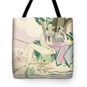 Picnic And Fishing Scene Tote Bag