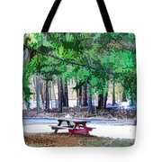 Picnic Area With Wooden Tables 3 Tote Bag